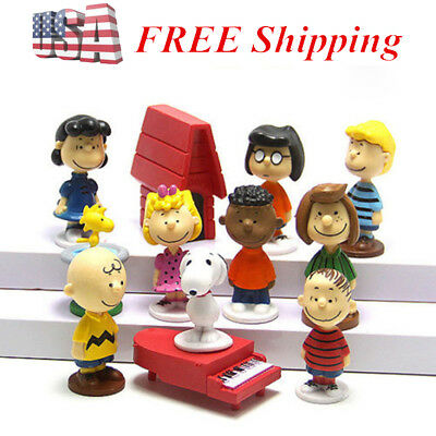 Catoon Peanuts Charlie Brown Snoopy 12 PCS Figure Kids Gift Cake Topper Doll Toy