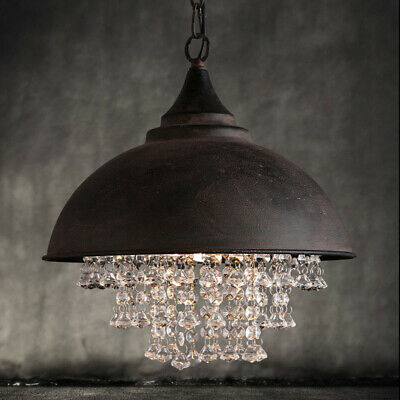 Rustic Vintage Industrial Crystal Pendant Lamp Ceiling Fixture Lights Chandelier
