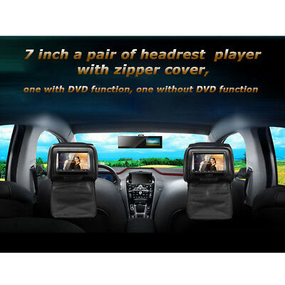 2×7″ TFT LCD Car Pillow Headrest DVD Player Monitor Game DVD/USB/SD IR/FM US