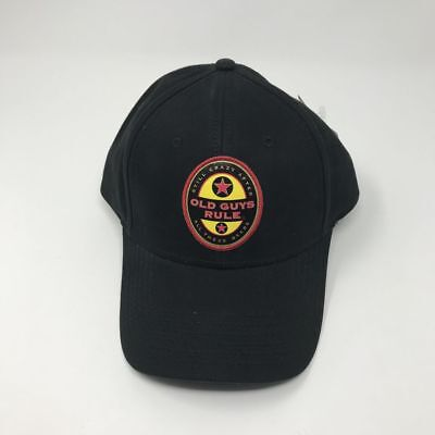 NEW Old Guys Rule Beer Drinking Hat Black Mens Ball Cap Size OSFA Strapback 617a01577bcf