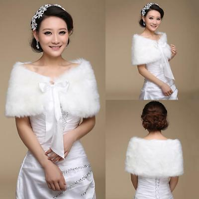 Bridal Faux Fur Coat Jacket Shawl Wedding Cape Wrap Bolero Scalf Shrug Cl Gift