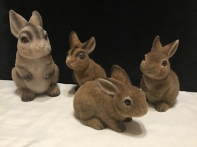 Vintage lot of 4 Brown Flocked Fuzzy Easter Bunny Rabits Figures Banks (M24)