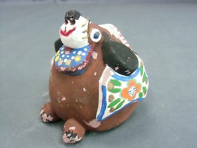 DR78 Japanese Dorei Clay Bell Ceramic Hand Made Painted Festival Dog Vtg Pottery