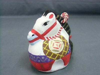 DR67 Japanese Dorei Ceramic Bell Clay Hand Made Kazari horse Red White Pottery