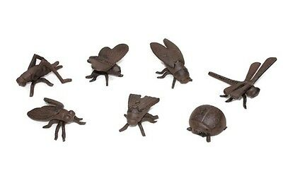 Cast Iron Brown Insect Bug Set/7 Home Garden Yard Lawn Outdoor Plant Patio Decor