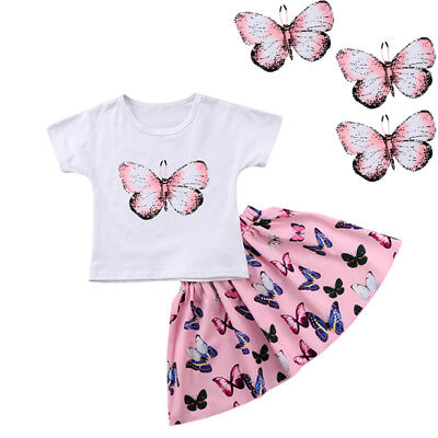 Canis Child Girls Outfits Casual Short Sleeve Butterfly Dress 2PCS Tops+Skirts