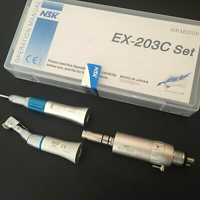 Dental Low Speed Handpiece Oral Set EX-203 E-type Contra Angle Air Motor Kit 4H