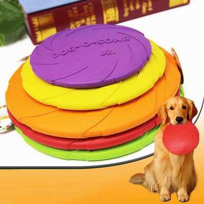 Silicone Frisbee Colourful Pet Dog Training Fetch Toy Soft Puppy Flying Red Pink
