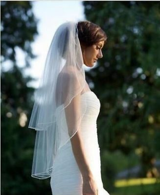 Womens Double Layer Bride Center Cascade Wedding Veils Ribbon Edge With Comb New