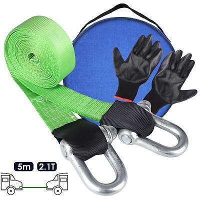 12T Heavy Duty Car Tow Cable Towing Strap Rope Hooks Emergency Tool 5M +  Gloves