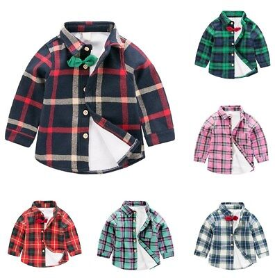 2-7Y Kids Boy Girl Plaid Check Shirt Long Sleeve Winter Warm Button Blouse Tops