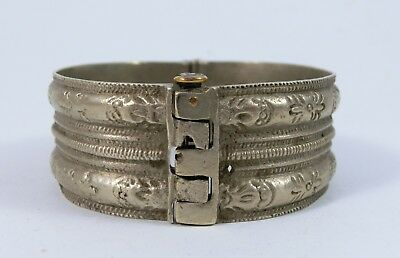 Ancient Medieval Low Silver Bracelet Bangle - Marked 5 - Ornate Engraved