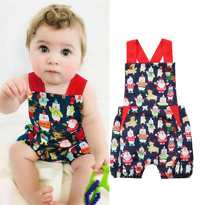 Newborn Baby Girl Christmas Romper Jumpsuit Summer Sunsuit Clothes Outfits 0-24M