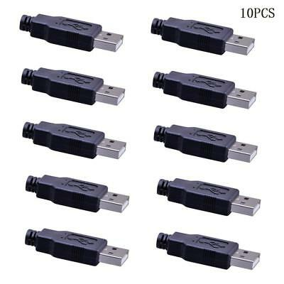 10x USB2.0 Type-A Plug 4-pin Male Adapter Connector jack&Black Plastic  Gift