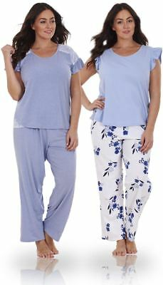 Ladies Plus Size Floral Print Lace Curve PJ Set Short Sleeve Pyjamas