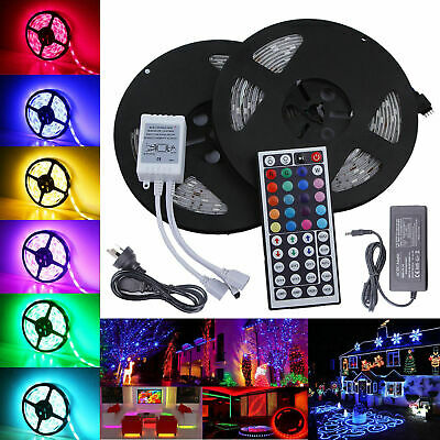 5M 10M 5050 RGB SMD LED Strip Light 44Key Remote Controller Power Supply Adapter