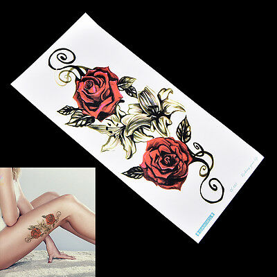 Adesivo tatuaggio temporaneo finto Red Rose Arm Body Waterproof Women Art v