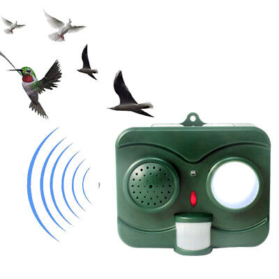 Solar Acousto-Optic Bird Repeller Deterrent Ultrasonic Wave Birds Pest Repellent