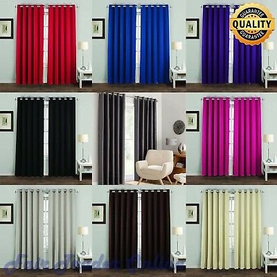 Blackout Pair Curtains Polyester Thermal Ready Made Eyelet Rings Top All Sizes