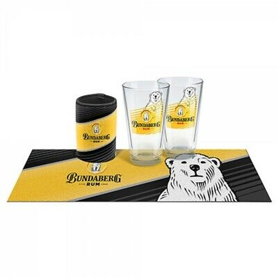 "Bundaberg Rum ""Bundy"" Conical Glasses, Can Cooler & Bar Mat Licensed"