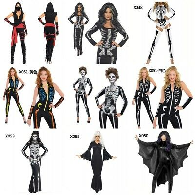 Halloween Women Cosplay Costumes Skeleton Dress Bat & Pirate Clothes Large Size