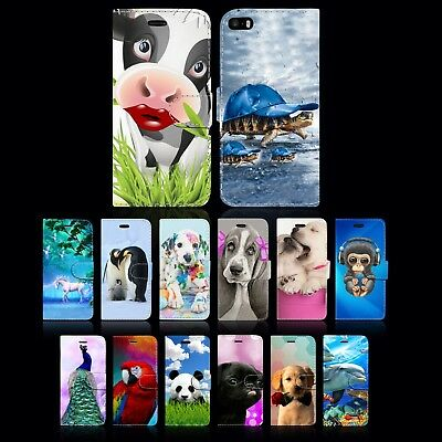 Animal Designs Leather Wallet Book Phone Case Cover For Apple Iphone 5Se 6S 7 8