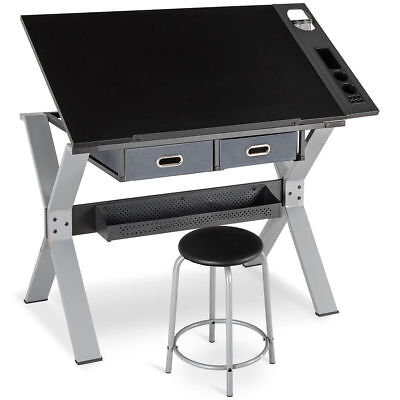 Adjustable Drafting Table Drawing Desk With Drawers Stool Hobby Art Dorm Craft