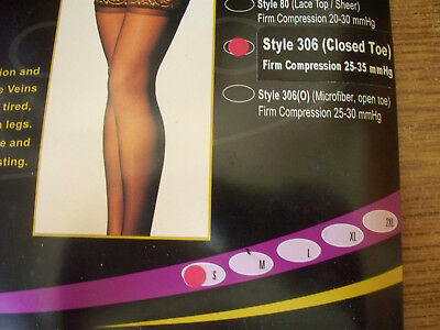 Gabrialla Compression Thigh Highs SMALL BLACK Firm (25-35 mmHg) Closed