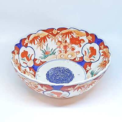 Stunning Late Edo Period Large Japanese Imari Scallop Edged Bowl c1820-40s