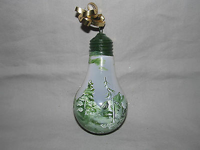 Hand Painted Light Bulb Signed Snow Winter Wonderland Forest Mountain Pine Trees
