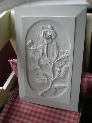 Two Antique carved wooden plaques : Rose, Thistle, Shamrock.