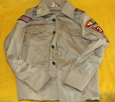 Vintage Boy Scouts of America Shirt with Patches - New Jersey - Size 12