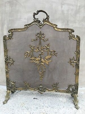 Antique French Rococo Gilt Bronze Brass Fireplace Screen With Love Bird