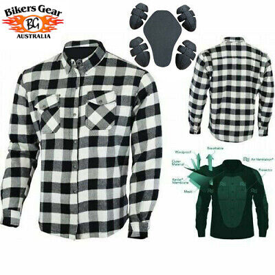 Australian Bikers Gear motorcycle Flannel Shirt made with Kevlar Lined CE armour