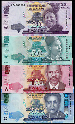 Malawi 20, 50.100, 200 Kwacha (P New) 2016/2017 Set Of 4 Notes Unc