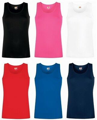 Womens Vests Lady Fit Vest Fruit Of The Loom T Shirt Top SS051