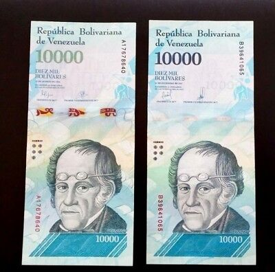 Sets of 2 interesting 10.000 bolivares banknotes. 2016-17. UNC. (YY).