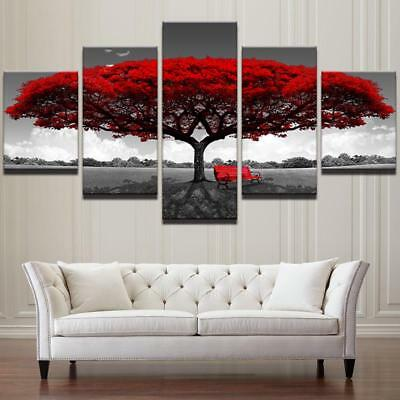 Canvas Wall HD Print Posters Home Decor Art Pictures 5 Pieces Red Tree Landscape