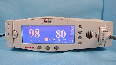 Masimo Radical SpO2 Monitor NEW battery cables and dock RDS-3 Tested w Warranty
