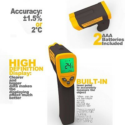TEMPERATURE GUN Non Contact Infrared Temp Tool Digital Cooking Laser Thermometer