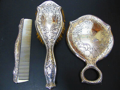 Antique Art Nouveau Sterling Silver Vanity Set, Mirror, Brush,Comb R. Blackinton