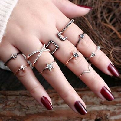 RINGS SETS 10PCS Bohemian Retro Vintage Crystal Joint Knuckle Friendship