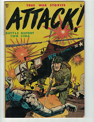 Attack #1 (Trojan/1952) Rare Youthful Mag War Comic...Extreme Violence...(FN)