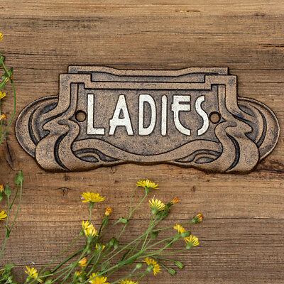 "Schild ""Ladies"", WC, Toilettenschild, Jugendstil, Gusseisen, Antikbronze"