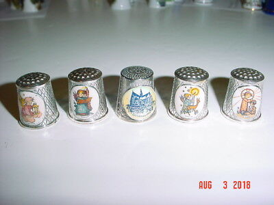 Lot Five (5) Silver Plated Holiday Theme Thimbles -  4 W. Germany And 1 England