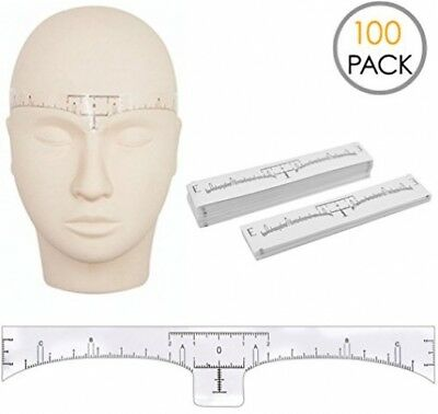 100 Pack Eyebrow Ruler, KINGMAS Disposable Adhesive Eyebrow Sticker Ruler Guide