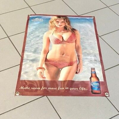 Bud Light glass bottle beer poster girl beach bikini sign bar banner  B250