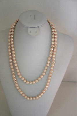 """Charter Club silver tone champagne faux pearl 8MM 40"""" strand necklace"""