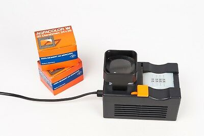 Hama 35mm slide cutter with light + 36 Agfa slide mounts with glass