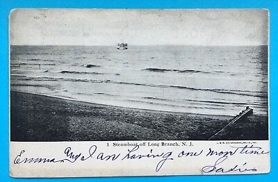 Vintage / Antique Postcard Steamer Steam Boat Off Long Branch, NJ c1906